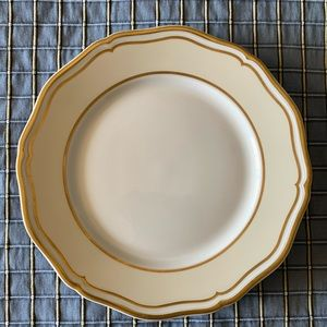 POLKA GOLD IVORY PLATE A. Raynaud Limoges France
